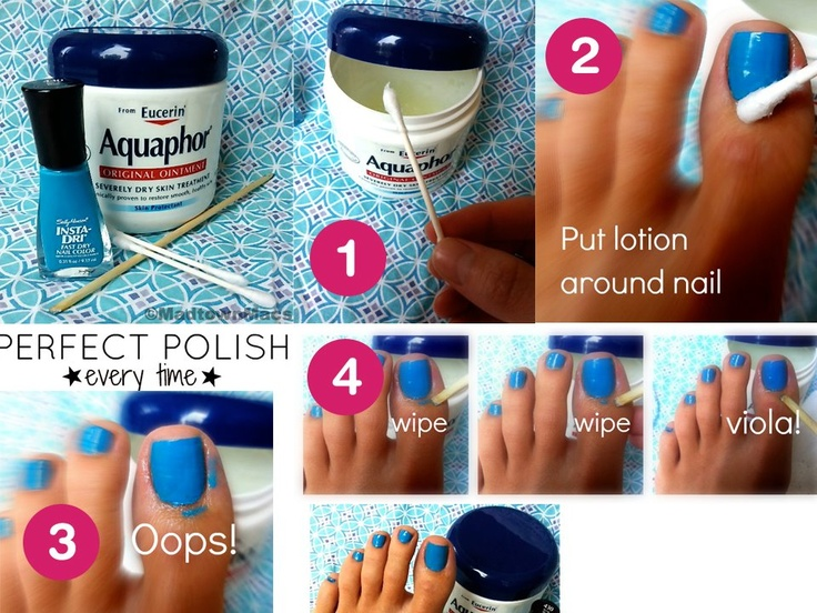 Perfect Polish every time!    All that's standing between your old eyes and Perfect Polish is a cuticle stick, a Q-Tip, and greasy lotion.  1. Put some lotion onto a Q-Tip  2. Wipe it around your nail, being careful to not get it ON your nail. The polish won't stick to wherever the lotion is.  3. Use the cuticle stick to wipe away the extra.  4. That's all it takes! Plus, after your polish is dry rub in the lotion and it helps those dry cuticles!