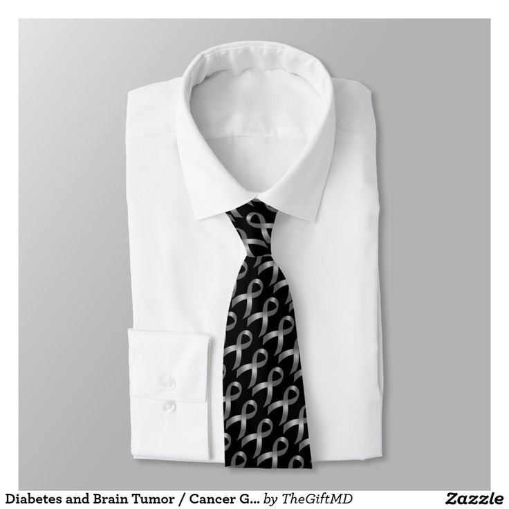 Diabetes and Brain Tumor / Cancer Grey Ribbon Neck Tie