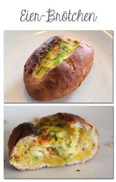 Könnte man bestimmt auch kurz in die Mikrowelle geben, dann bräunt das Brötchen nicht so stark nach, oder die Brötchen zum fertigbacken nehmen: aushöhlen, verquirltes, gewürztes Ei (mit Käse) einfüllen