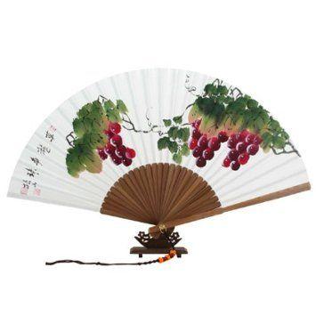 Abanico Blanco Pintado A Mano Desplegable en Papel de de Arroz de Morera Decoración Asia Oriental Arte de Bambú con Diseño de Uvas