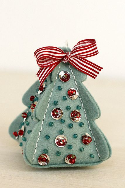 Sequins and Beads on a felt ornament made from Christmas Tree Change Up Box and Stitching Die Collections