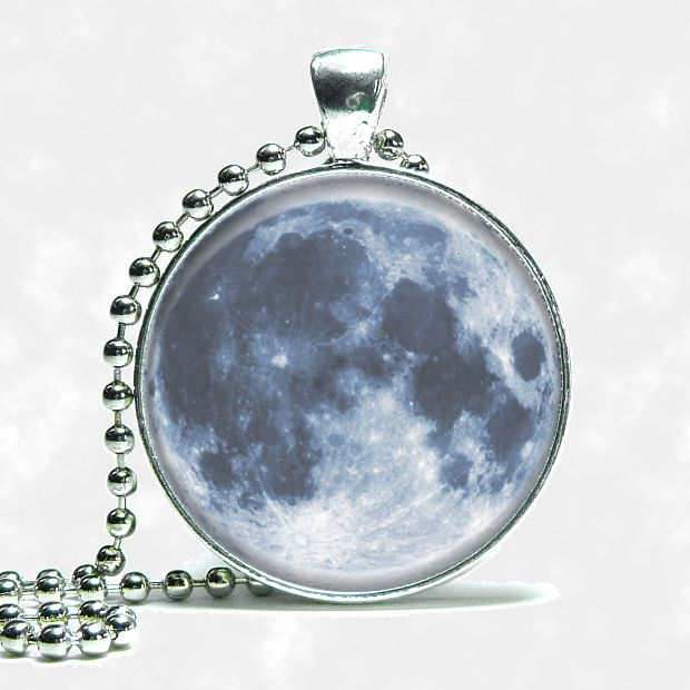 Custom Planet Earths Full Blood Moon Necklace Space Silver Tone Ball Chain #Handmade #Pendant