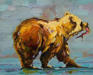 Fishing Bear Print by Diane Whitehead