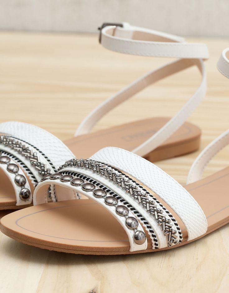 Bershka France - Sandales plates perles