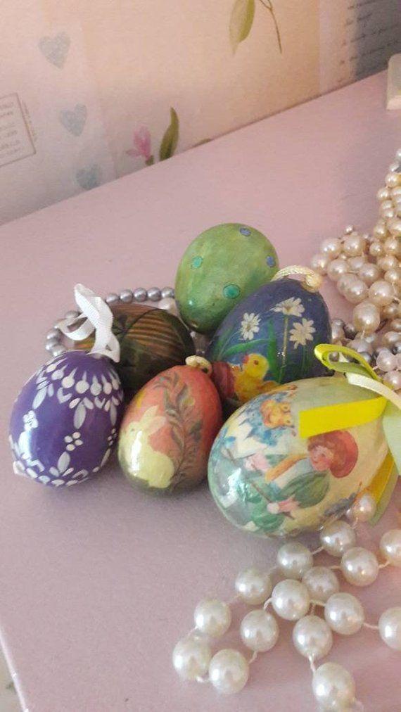 6 Easter Egg Hanging Decorations Egg Hunt Eggs Paper Mache Tree