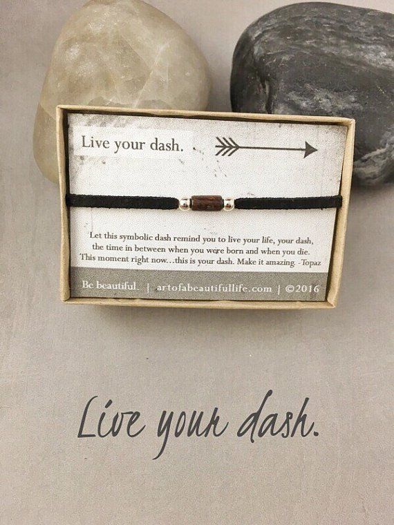 Live Your Dash Inspirational Bracelet | Inspirational Quote Jewelry | Sterling Silver | Men, Women, Unisex | Beautiful inspirational bracelet to inspire and encourage you to live life. It comes with a beautiful quote card and is a unique gift idea.