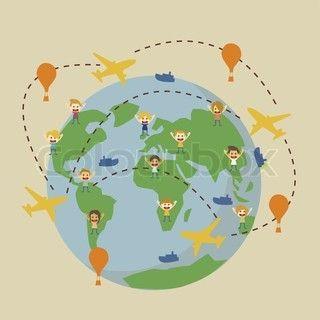 Vektor af 'vektor verden rejsekortet med flyvemaskiner'