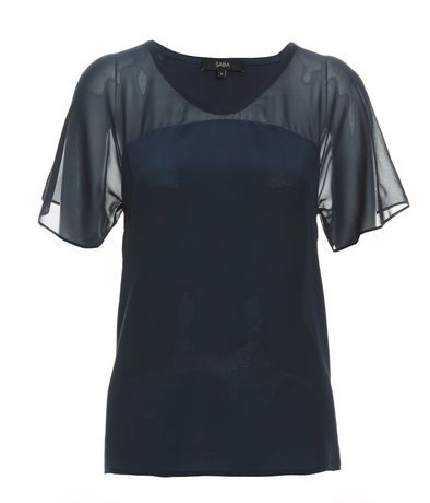 Agnes Silk Mix Tee, FRENCH BLUE