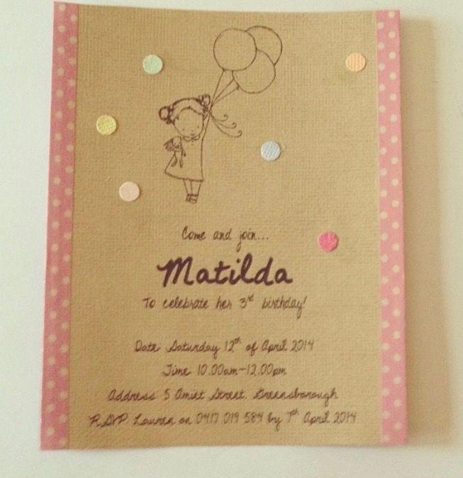 Tilly's 3rd birthday party invitation design