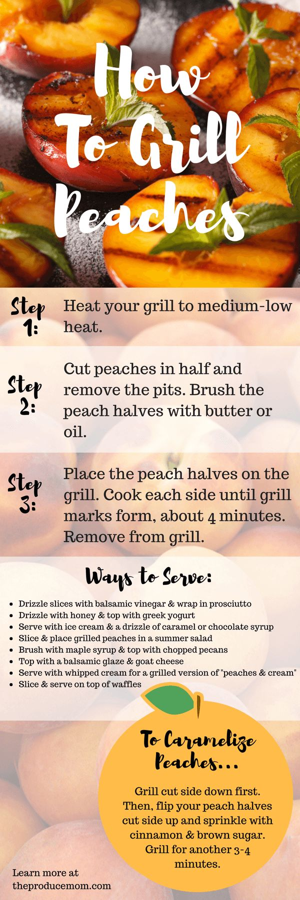 Grilled peaches | How to grill peaches infographic