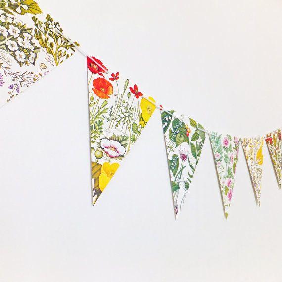 Botanical Bunting, Rustic Wedding bunting, Floral Garland, ecofriendly flower banner, upcycled bunting, Wedding Pennants
