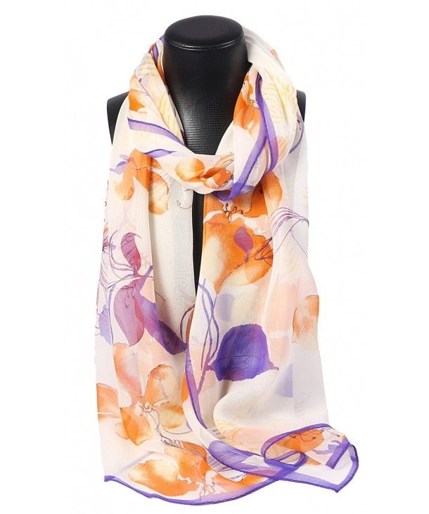 100 Silk Scarf Oblong Georgette Floral Watercolor Orange Purple Ci1832e0ouy Floral Silk Scarf Silk Scarf Scarf