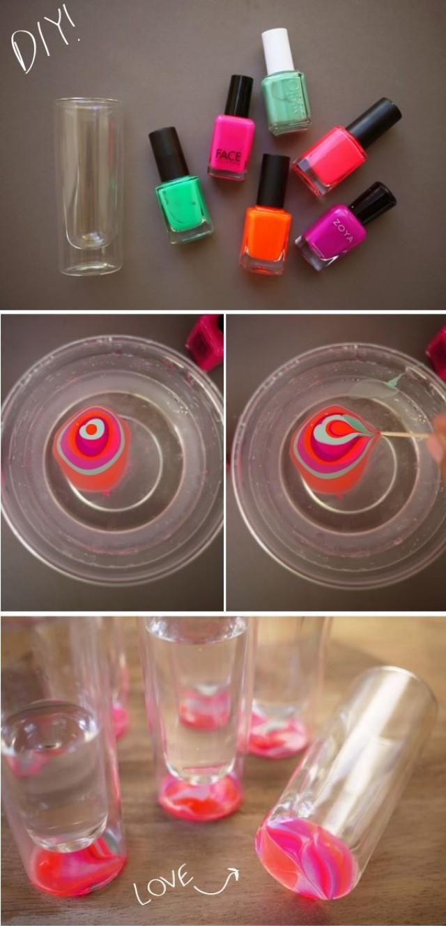 DIY marbled glassware - I actually want do do this for fun. But could be a cute party favour or something for the shower ?
