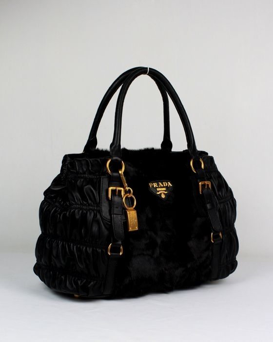 Purses And Handbags | ... Leather Bags :: Prada Outlet Carved Hair and Lambskin Bags With Black