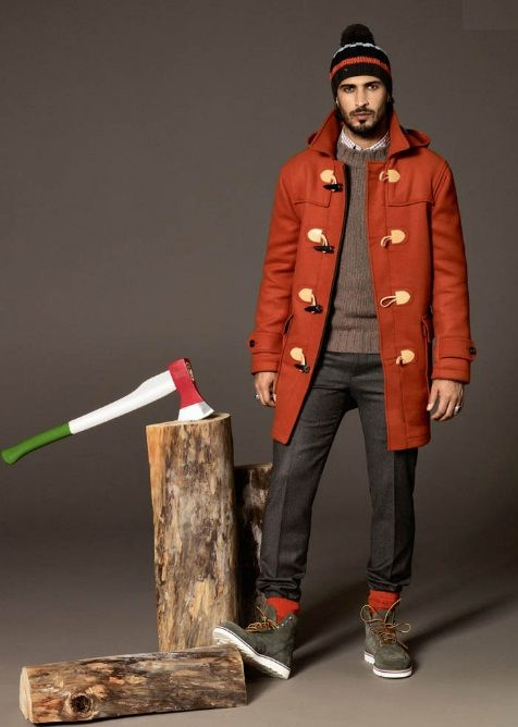 Orange Toggle Coat, Sweater, Fitted Jeans, and Boots (Ax and Stump Sold Separately). Men's Fall/Winter Fashion.