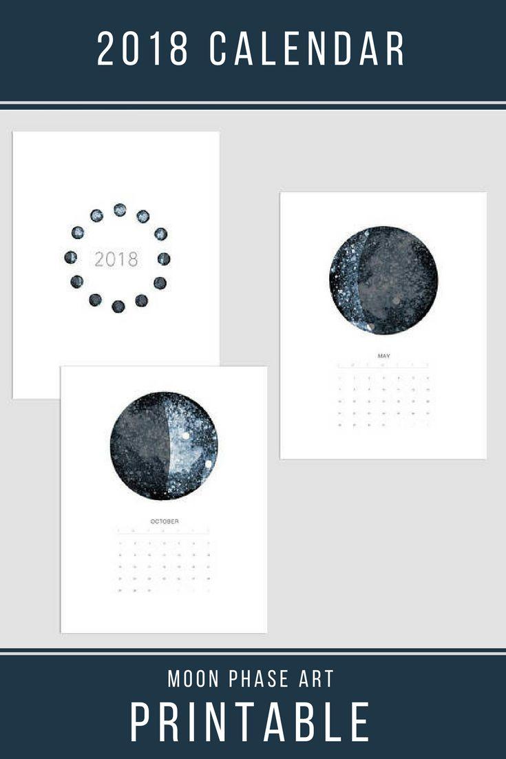 2018 Printable calendar, Moon Calendar 2018, Printable moon phase calendar, Printable wall calendar 2018, 11x17 Calendar 2018, art calendar #affiliate