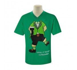Mens V-Neck T-Shirt with Leprechaun Body Print, Green colour