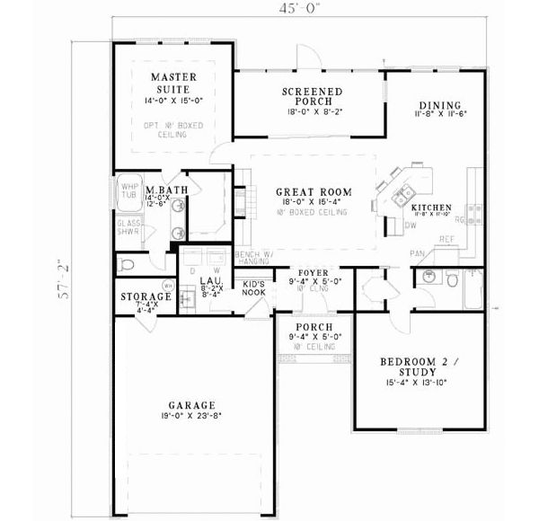 traditional style house plans 1426 square foot home 1 story 2 bedroom and - 2 Bedroom House Plans