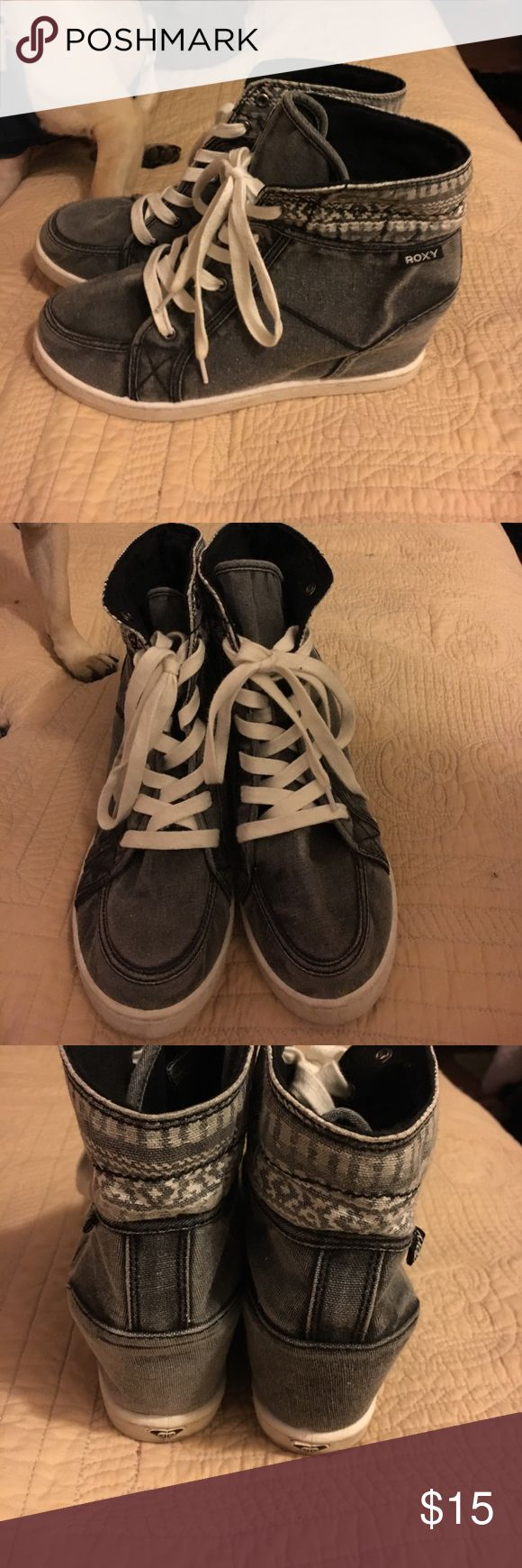Size 10 Roxy heeled  wedge tennis shoes used Roxy gray tennis shoes wedges good used condition. Size 10 Roxy Shoes Athletic Shoes