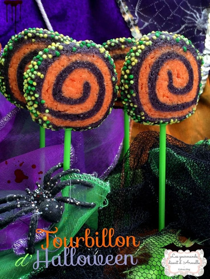 Sucettes biscuits tourbillon d'halloween