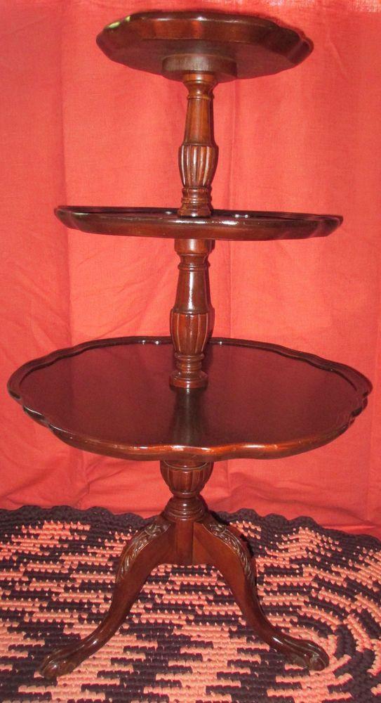 Mersman Antique Vintage Round Mahogany 3 Tier Pie Crust