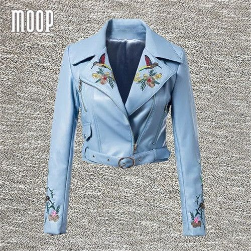 Floral embroidery decor black blue PU leather jackets and coats women motorcycle jacket chaquetas de cuero mujer LT749