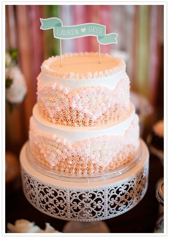 lace art deco wedding cake and banner topper