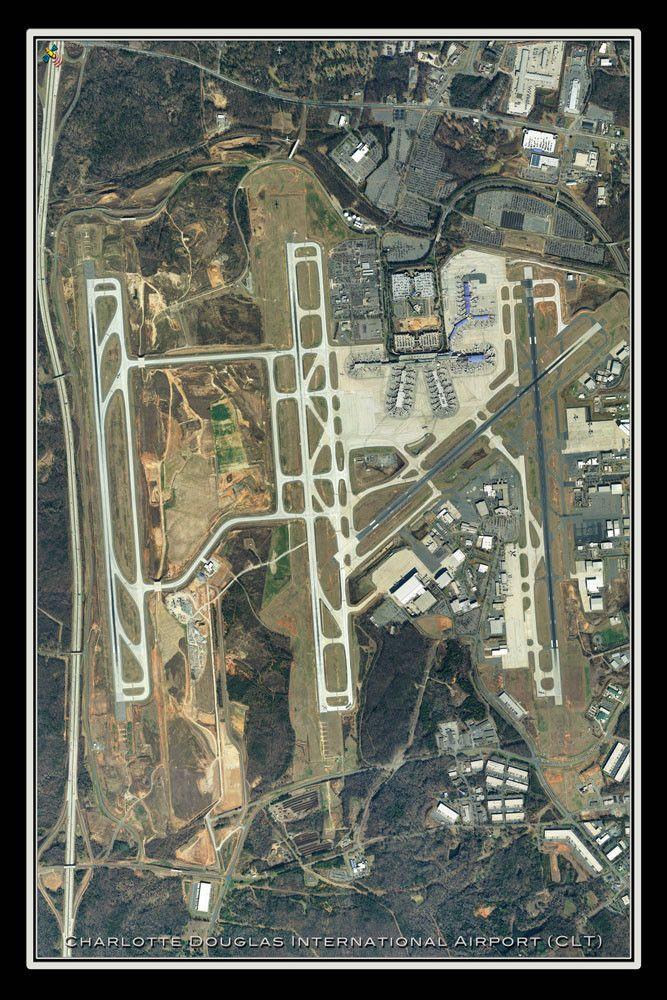 Map Paris Airports%0A Charlotte Douglas Intl Airport North Carolina Satellite Poster