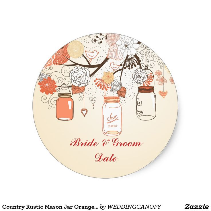 Country Rustic Mason Jar Orange Sticker