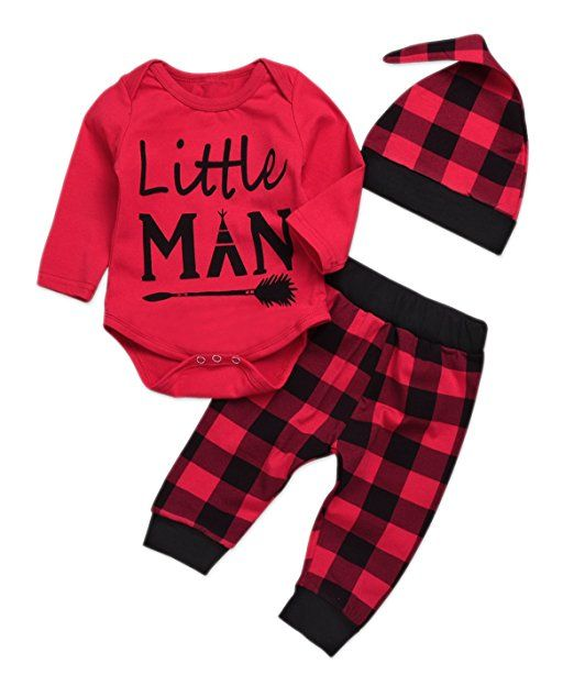 85334b439 Amazon.com: Younger star Newborn Baby Boys Girls Long Sleeve Bodysuit and  Plaid Pants
