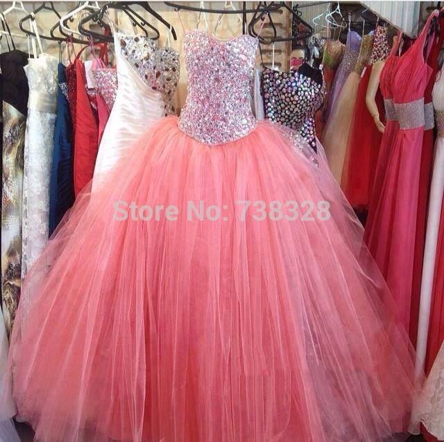 Дешево-корал пышное платье платья 2015 Vestidos 15 Anos спагетти бальное платье сладкие 16 платья пром платье для девочек