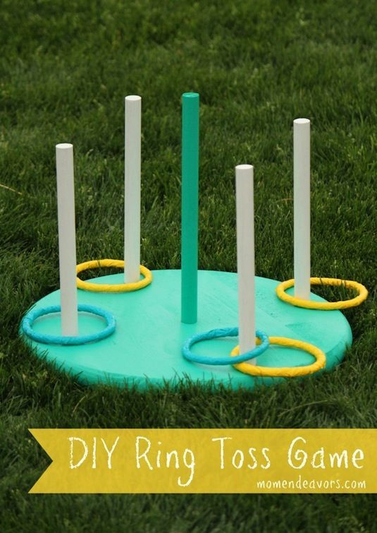DIY Ring Toss Game  This one is fun for any age! The further you stand back, the harder it gets. You could even mark lines in the yard and assign each one with a different point value to make it more challenging and entertaining!