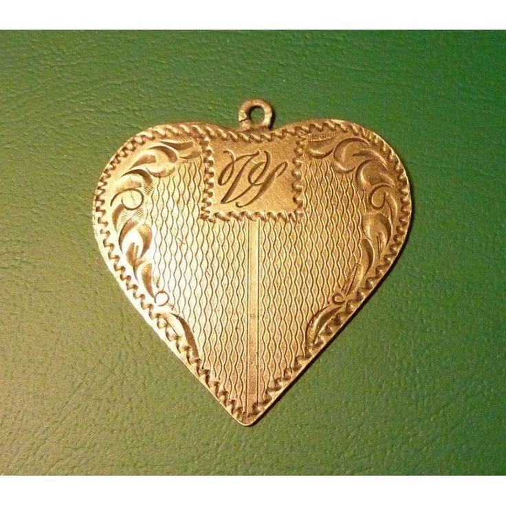 Historical silver pendant - Heart Monogrammed ART DECO