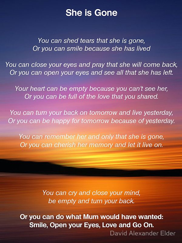"""She is Gone - Funeral Poem for Mum"" by David Alexander Elder | Redbubble"