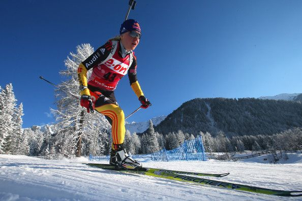 Miriam Goessner Miriam Goessner of Germany competes in the women's 7,5km sprint event during the IBU Biathlon World Cup at Suedtirol Arena o...