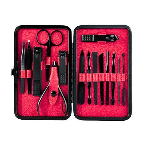 Loobani Mens Manicure Set Stainless Steel Professional Nail Clipper Kit Pedicure Kit Nail Scissors Grooming Kit of 15pcs with Black Leather Travel Case (Red)
