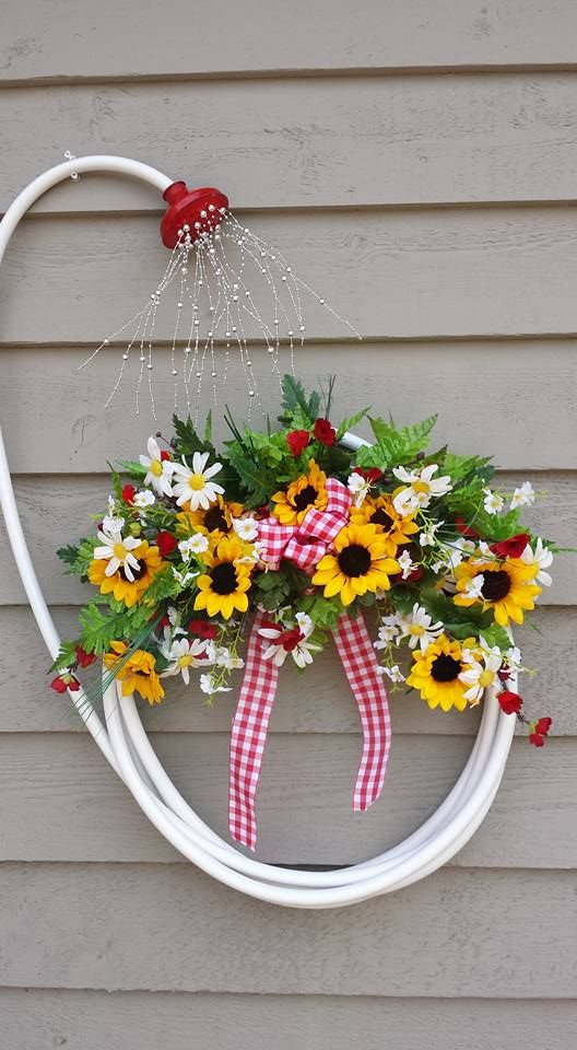 My Garden Hose Wreath. Image Only. Jan Roberts 2016.   Gardening Ideas