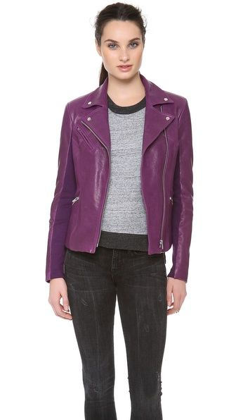 Purple leather jacket. Add some spice to boring fall and winter