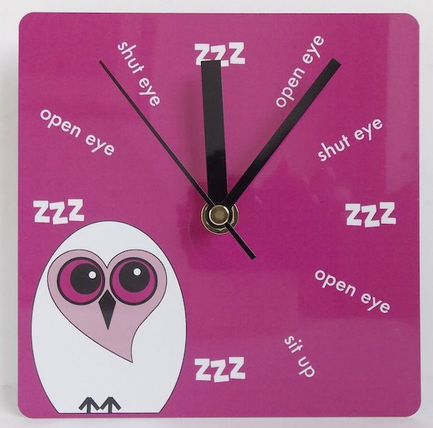 Perfect for the sleep lover in your life.  This gorgeous  owlwall clock is designed and hand printed in Exeter, Devon UK and is available in blue, pink, green or orange.  £19 plus P&P. Overseas postage not very expensive, please contact via website for a postal quote. http://www.giddysprite.com/product/sleep-lovers-twit-clock-2/ #owlclock #owlwallclock #sleeplovers #sleeploversclock #nightowlclock #nightowlwallclock #studentclock #teenagersclock #madeindevon #sleepyhead #wakeywakey