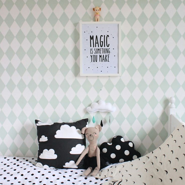Mint with black and white   kids room decor