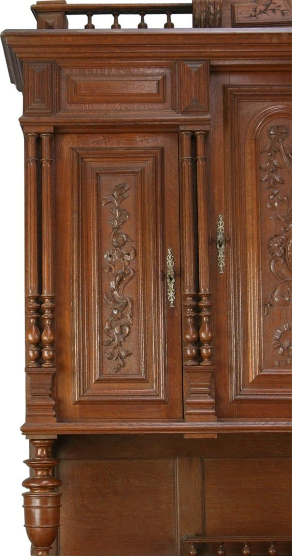 Buffet Henry Ii Renaissance Walnut Wood Majestic Antique French 1900 Glass Door Free Shipping In 2020 Walnut Wood French Antiques Glass Door