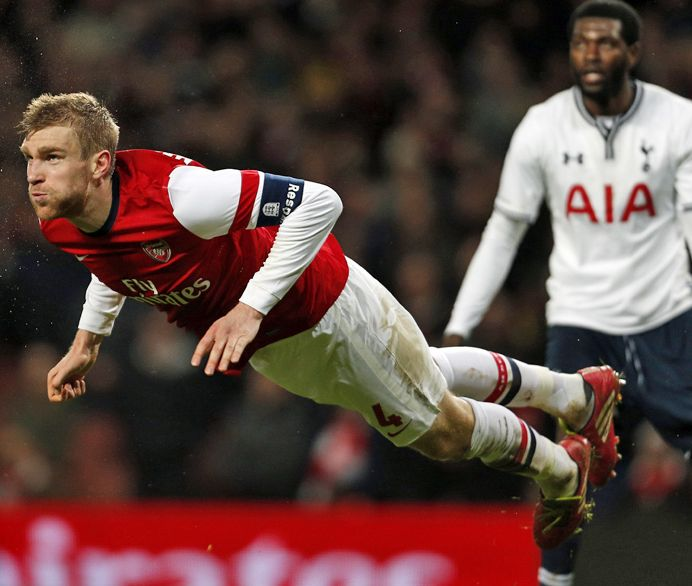Arsenal's BFG, Per Mertesacker...flying high