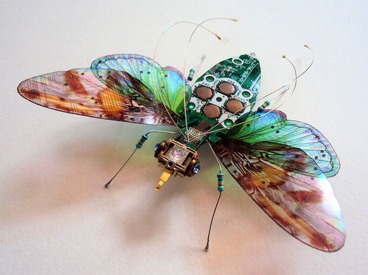 "Julie Alice Chappell makes Winged Insects Made From Old Computer Circuit Boards And Electronics.  Our society discards a lot of electronics, as they are rendered obsolete almost every day, but artists like Julie Alice Chappell, based in the UK, are there to pick up the pieces and turn them into beautiful recycled art. In her case, she turns old computer circuit boards and electronics into beautiful winged insects in a series called ""Computer Component Bugs."""