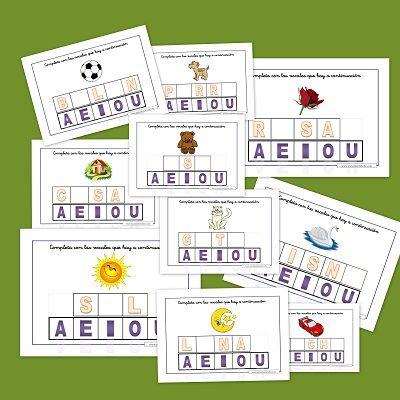Juega con las vocales. Recursos para el aula Fichas sencillas para conocer las vocales, palabras y vocabulario. Fichas para trabajar en el aula o en casa