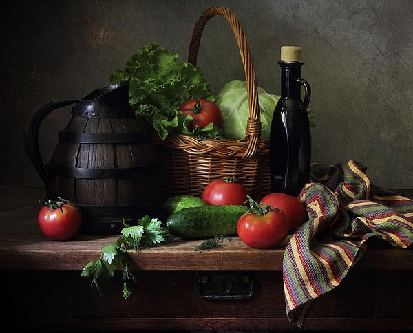Still life with vegetables and French wooden jug