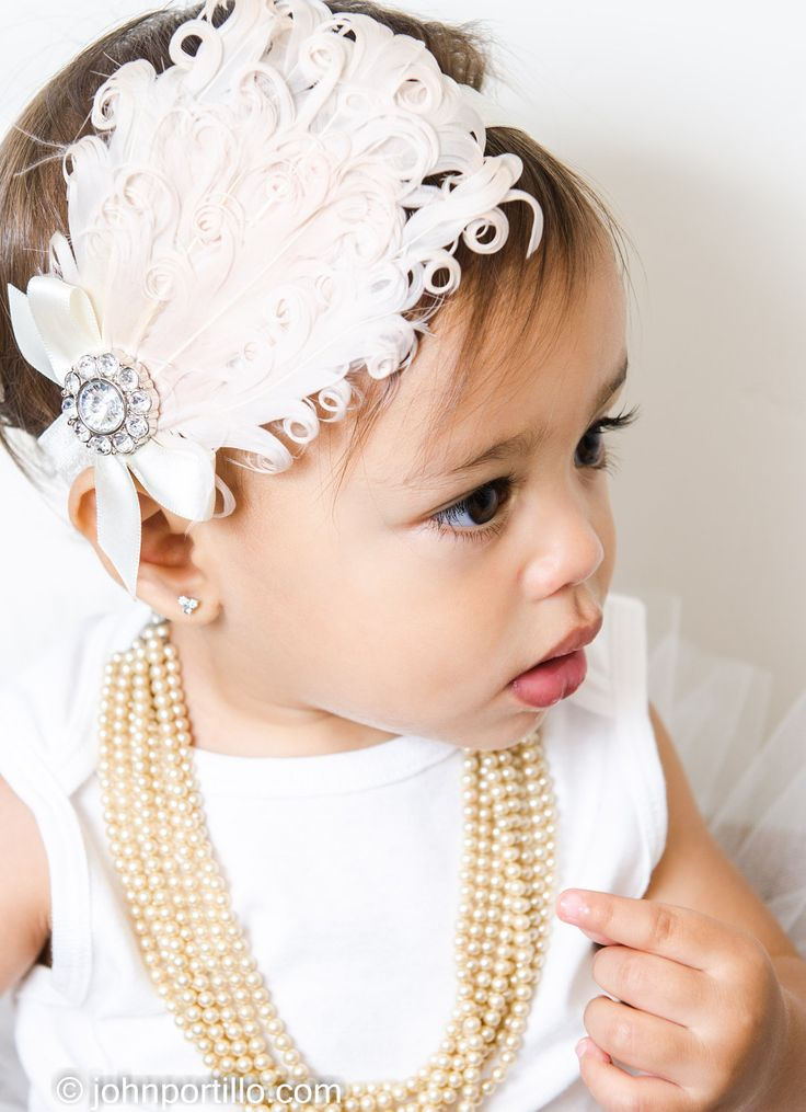 White Nagorie Feather headband, Feather baby headband with rhinestoe cluster and satin bow.