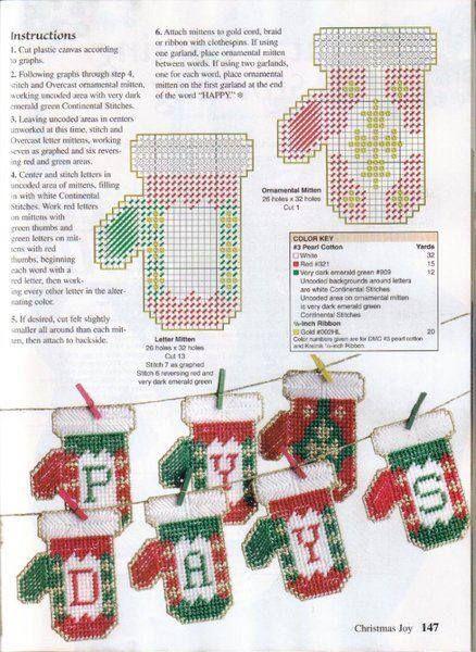 Model kerst-handschoen.
