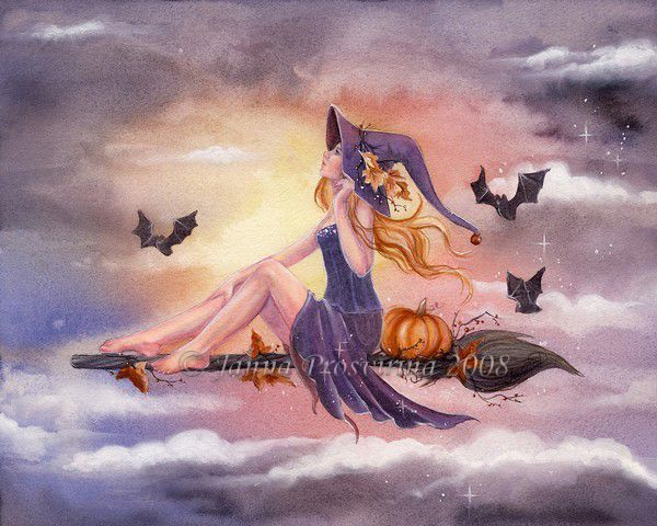 October Sky by ~Kuoma on deviantART ~ flying witch ~ Halloween