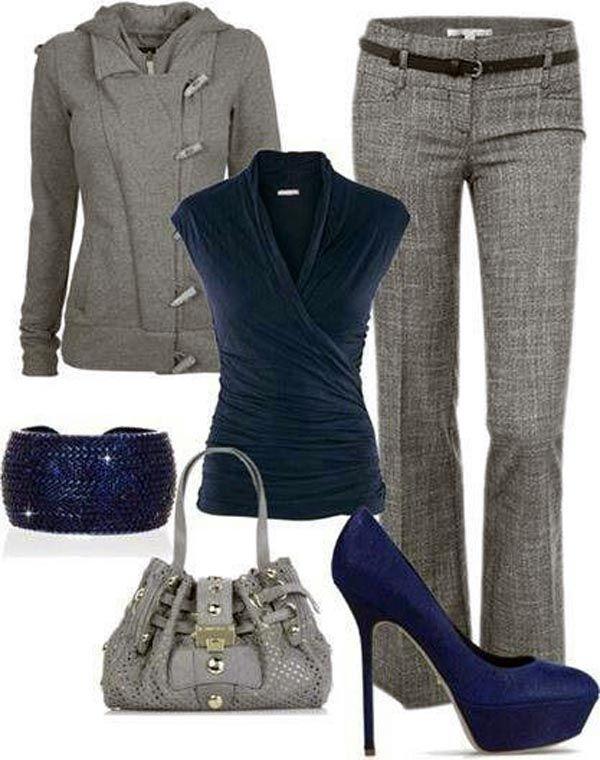 Combinar una prenda de color gris.