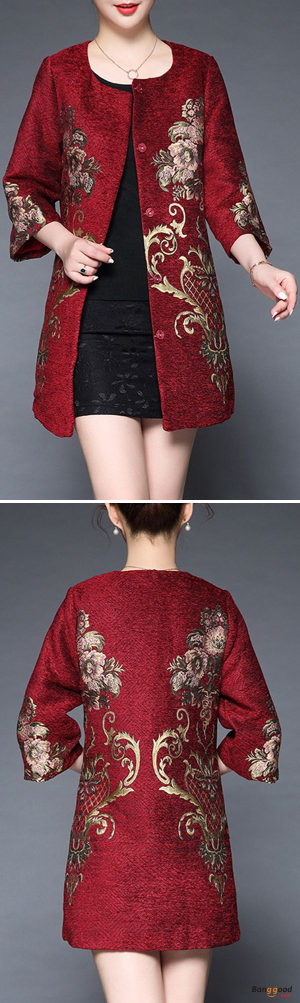 US$56.99 + Free shipping. Size: L~3XL. Color: Blue, Off-white, Red. Fall in love with elegant and vintage style! Plus Size Elegant Women Embroidery Coats. #coats #embroidery #plussize #outfit